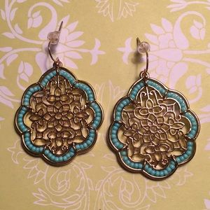 Gold and Turquoise Quatrefoil Earrings